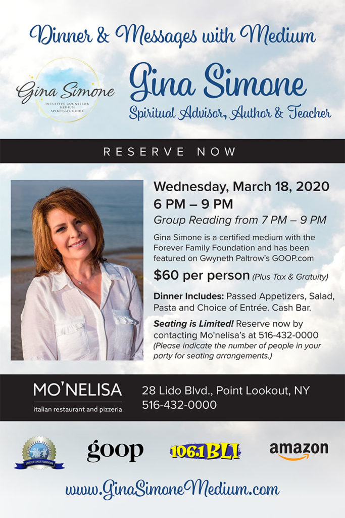 Dinner & Messages with Medium Gina Simone